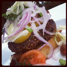 Mustard Seed Crusted Bison Burger and red onion slaw with crostini